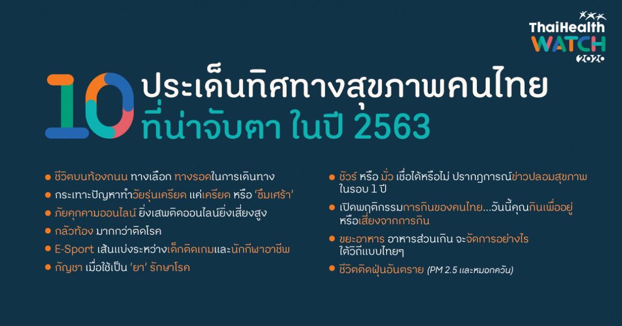 10 ประเด็นทิศทางสุขภาพคนไทย ที่น่าจับตาในปี 2563